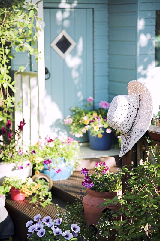 Summer flower pots and shed