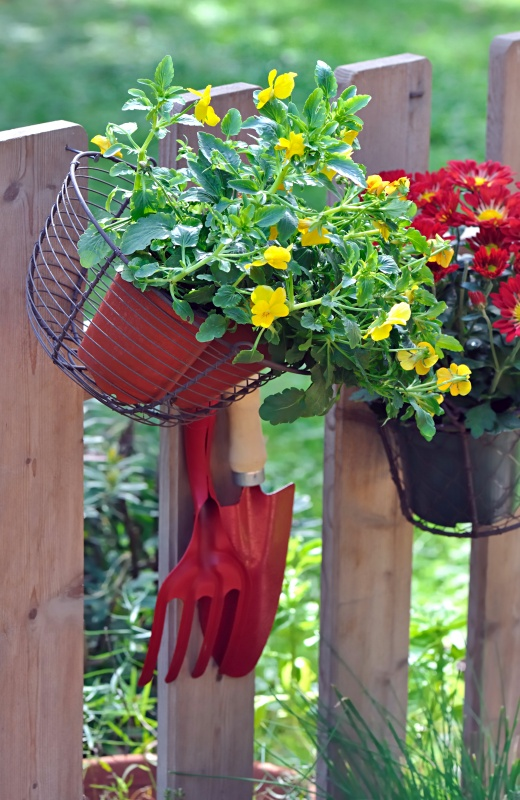Flower Pots Hanging on Picket Fence
