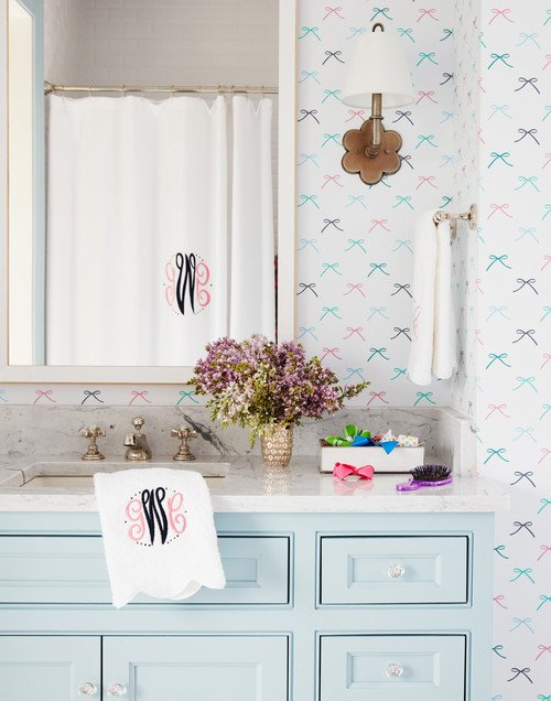 Young Girl's Wallpapered Pastel Bathroom