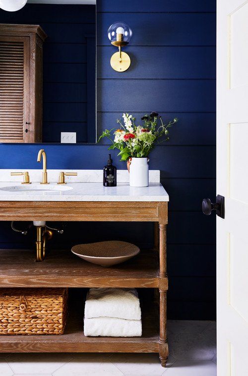 Dark Blue Shiplap Walls in Nautical Bathroom