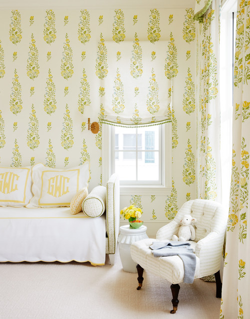Young Girl's Wallpapered Bedroom with Daybed