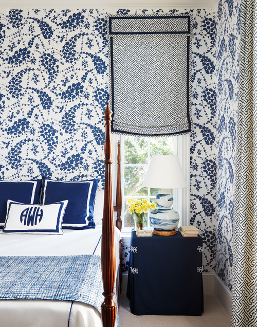 Blue and White Traditional Bedroom with Wallpaper and Four Poster Bed