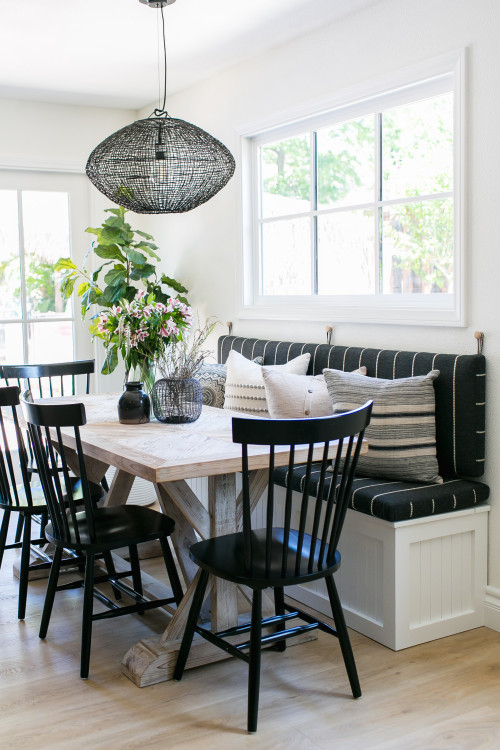 Farmhouse Style Dining Room in Black and White