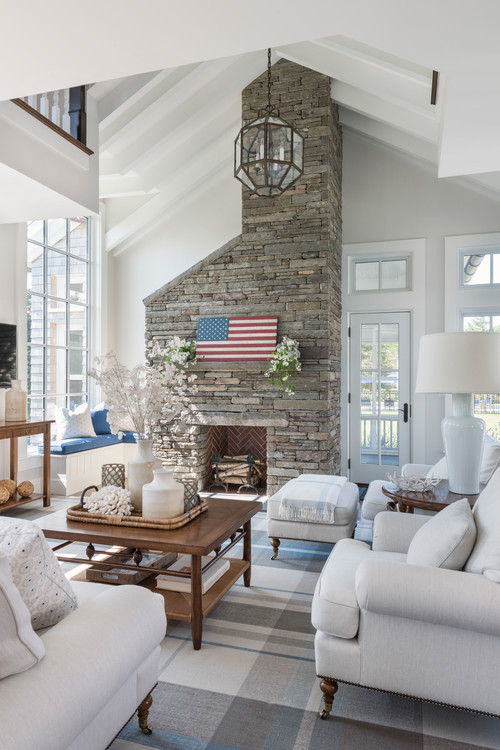 White Living Room with Patriotic Decor