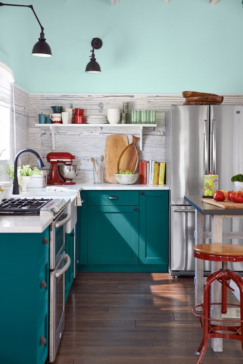 Updated Vintage Aqua Kitchen with Red Accents