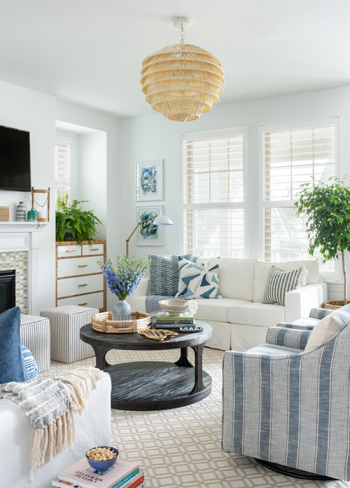 Beach style decorating in pale blue and white