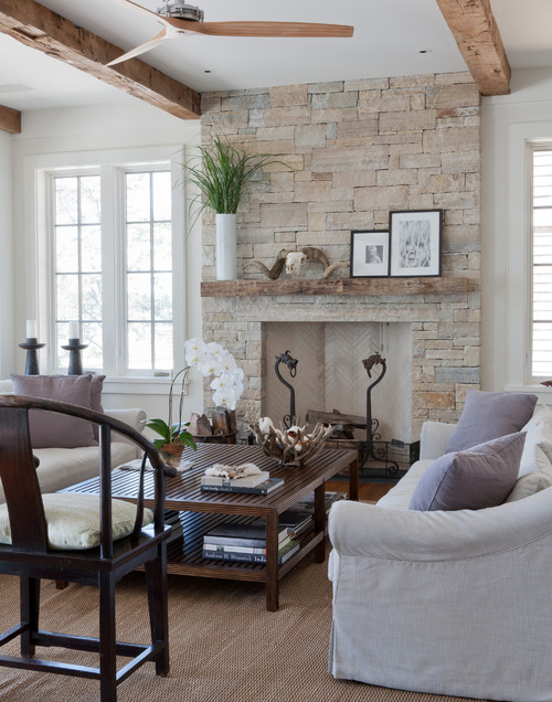 Modern Country Family Room with French Doors and Stone Fireplace