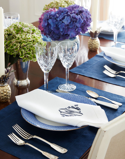 Blue and White Formal Table Setting
