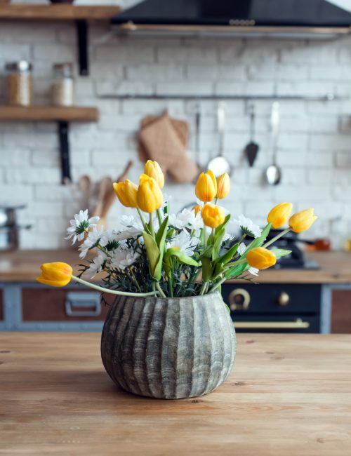 French Country Kitchen with Yellow Tulips