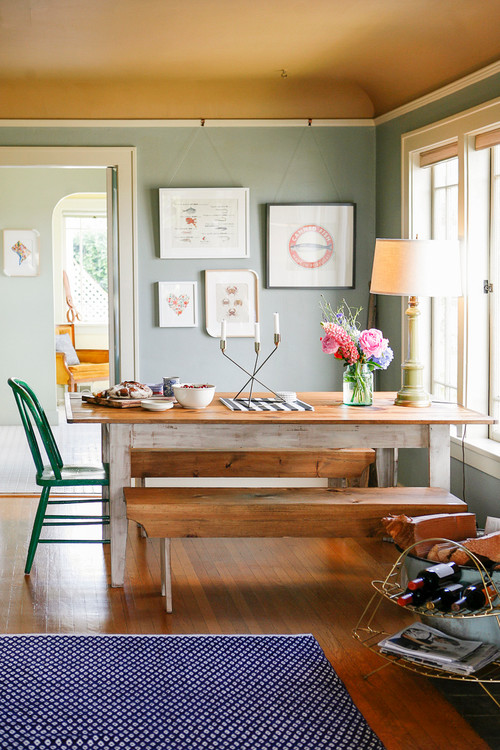 Farmhouse Table and Bright Green Windsor Chair in Dining Nook