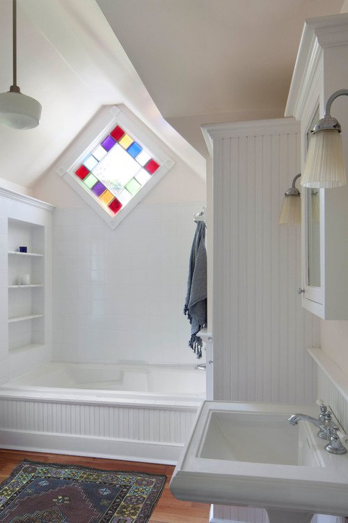 White Scandinavian Style Bathroom with Colorful Stained Glass Window