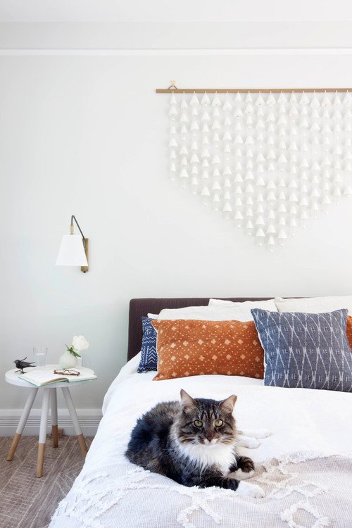 Boho Chic Bedroom with Kitty on Bed