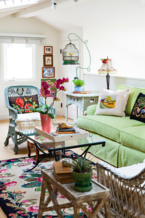 Small Living Room Filled with Colorful Vintage Finds