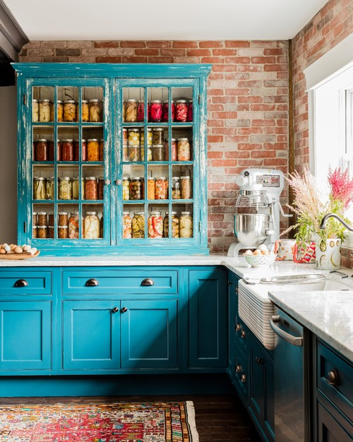 Turquoise Kitchen in Old Historic Home