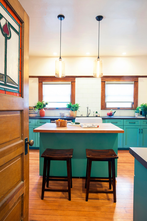 Craftsman Kitchen with Turquoise Painted Cabinets
