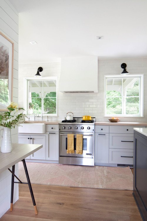 Scandinavian Farmhouse Kitchen with Shaker Style Cabinetry