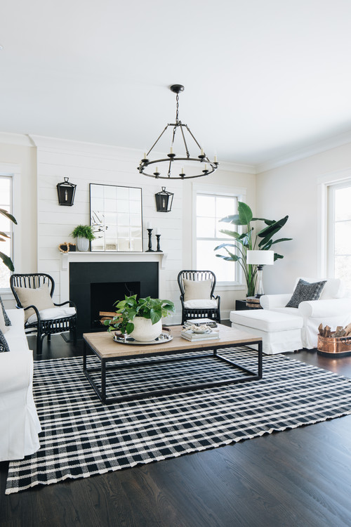 Black and White Farmhouse Style Living Room