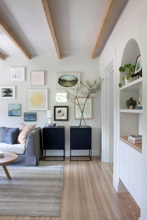Scandinavian Style Living Room with Wood Beam Ceiling