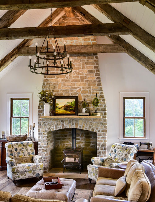Neutral Family Room with Stone Fireplace and Vaulted Ceiling