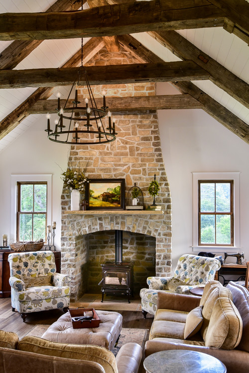 Neutral Living Room with Stone Fireplace and Vaulted Ceiling