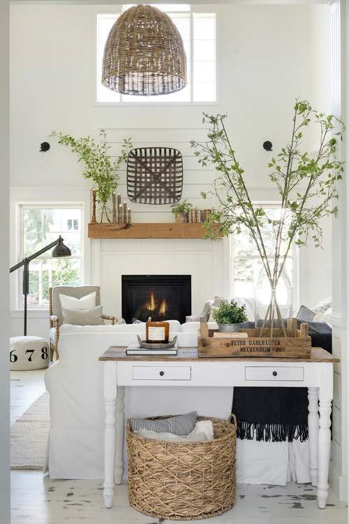 White Farmhouse Living Room with Touches of Greenery
