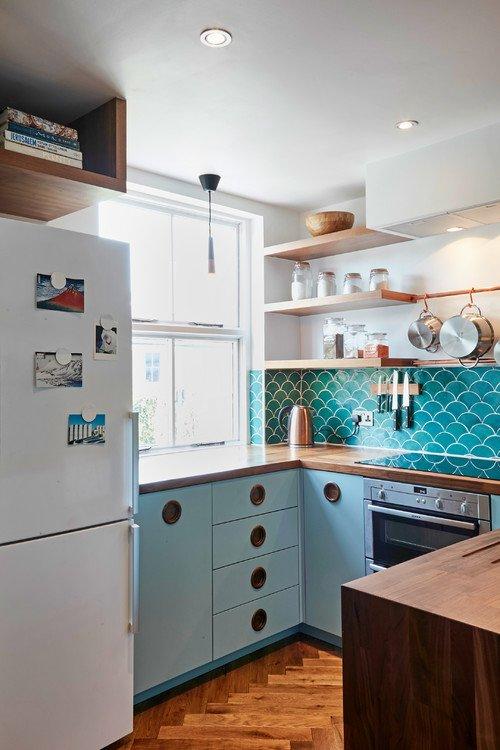 Mid Century Modern Turquoise Kitchen