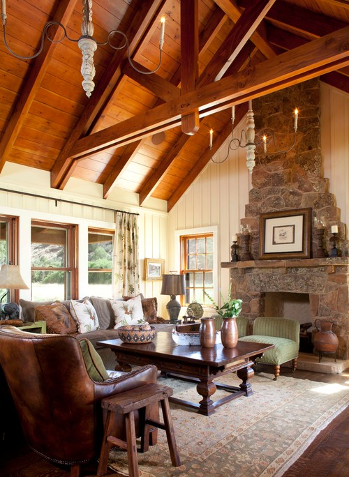 Warm Family Room with Rich Wood Vaulted Ceiling and Stone Fireplace