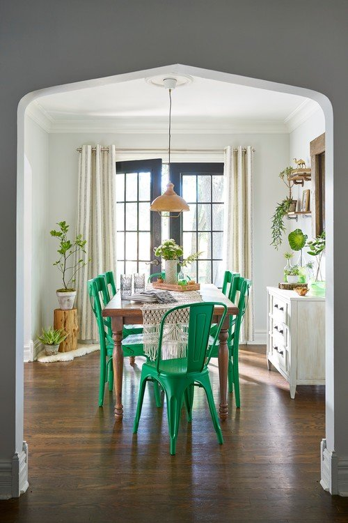 Shabby Chic Dining Room with Bright Green Chairs