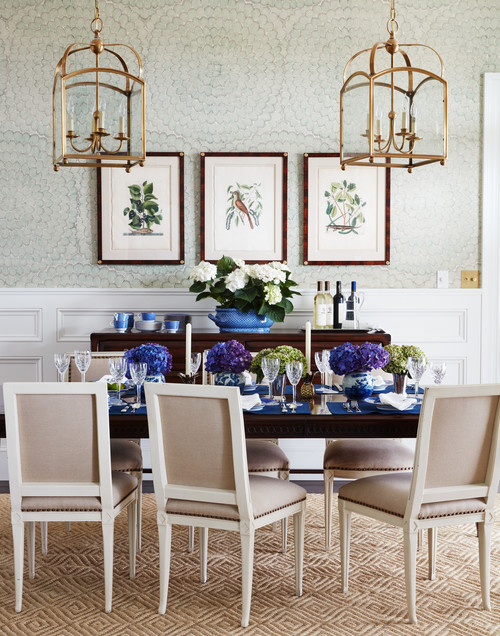 Light Blue Formal Dining Room in Traditional Home