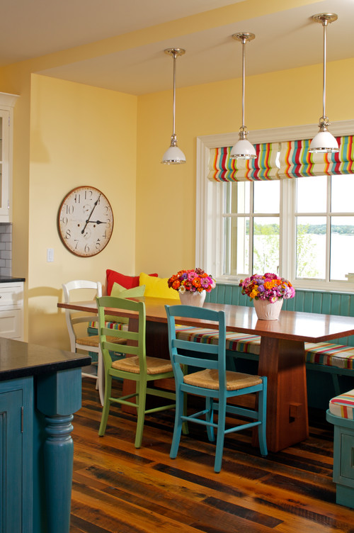 Colorful Breakfast Room with Brightly Painted Chairs