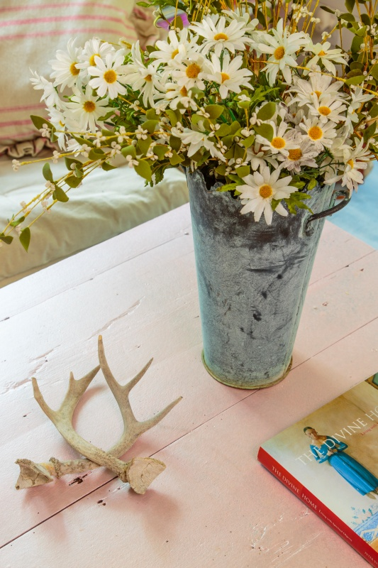 Galvanized Vase with Flowers and Found Antlers