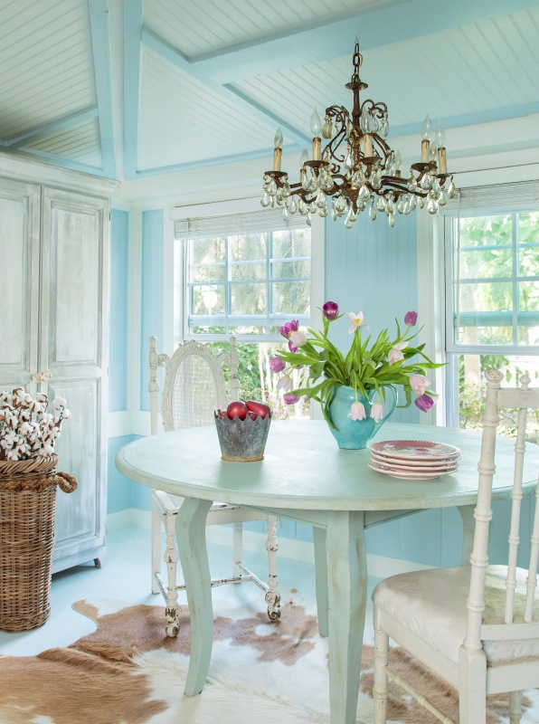 Shabby Chic Romantic Prairie Dining Room in Florida Cottage