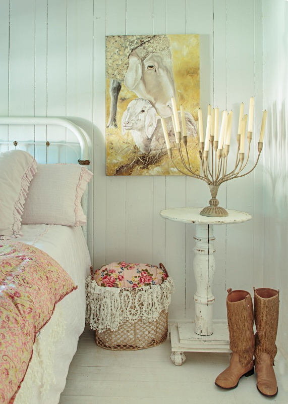 Romantic Prairie Master Bedroom with White Iron Bed