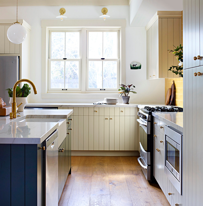 Modern Farmhouse Kitchen in White and Blue