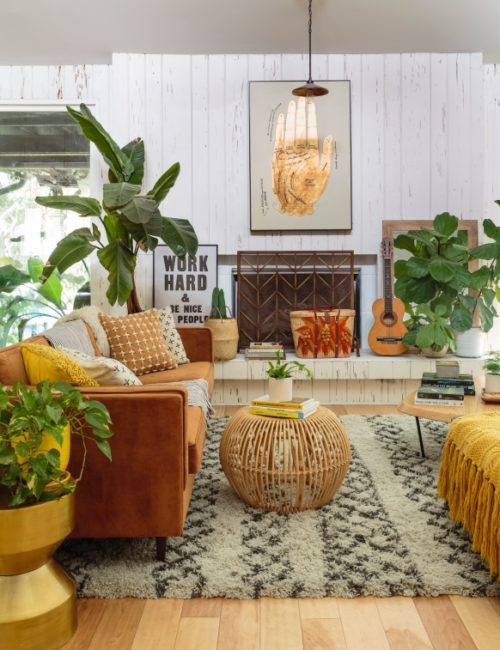 Eclectic Bohemian Living Room Filled with Plants