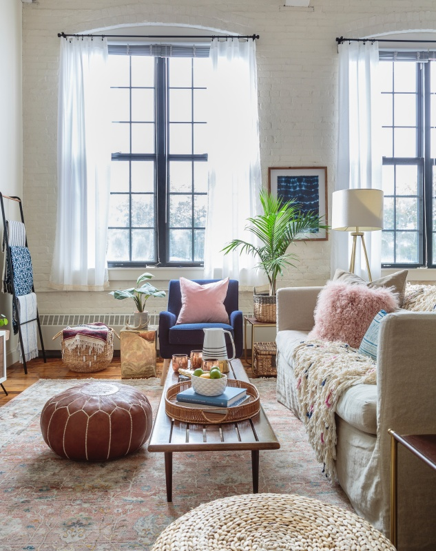 Eclectic and Modern City Living Room in Bohemian Style