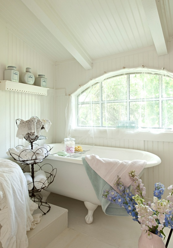 White Shabby Chic Bathroom with Vintage Claw Foot Tub
