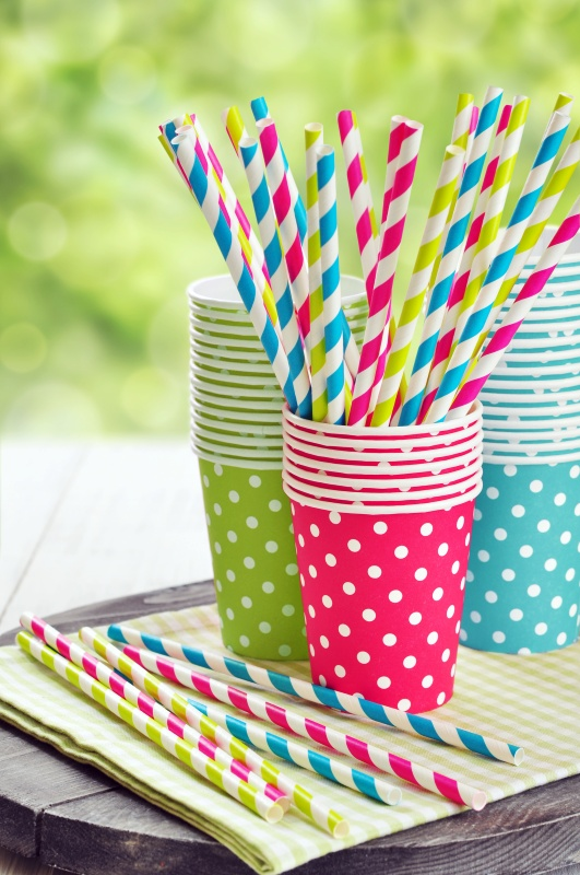 Garden Party with Polka Dot Cups and Striped Straws