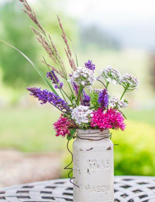 Summer Garden Flowers in a Painted Mason Jar