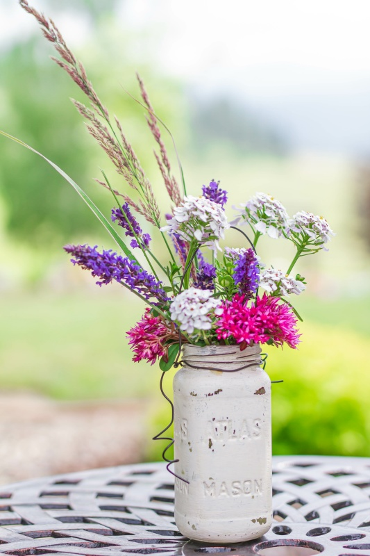 Summer Garden Flowers in a Painted Mason Jar