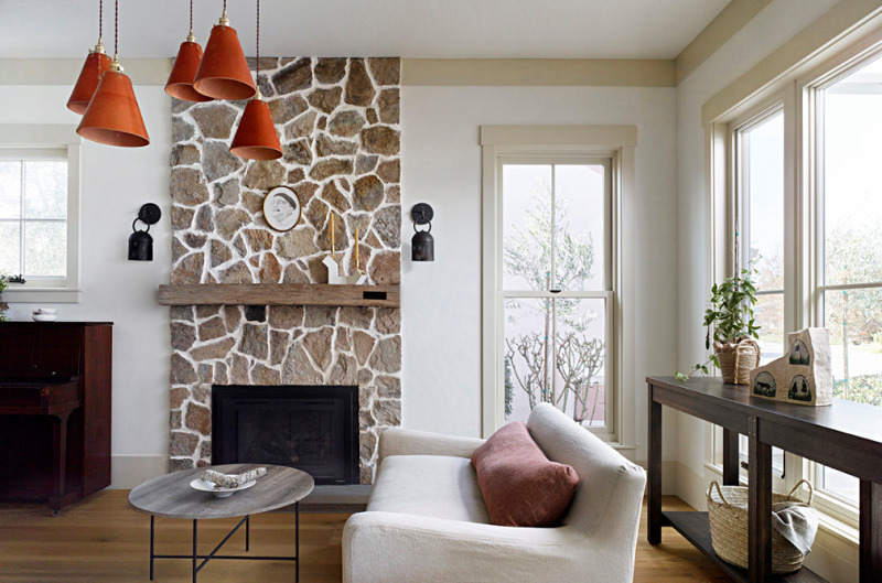 Minimalist Farmhouse Living Room with Stone Fireplace