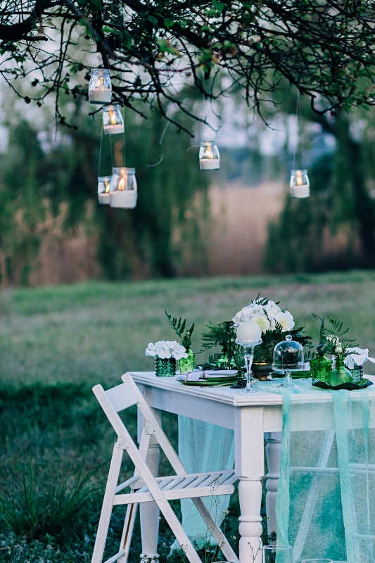 Festive table decorated with branches of greenery, stands on green grass in the area of wedding party.