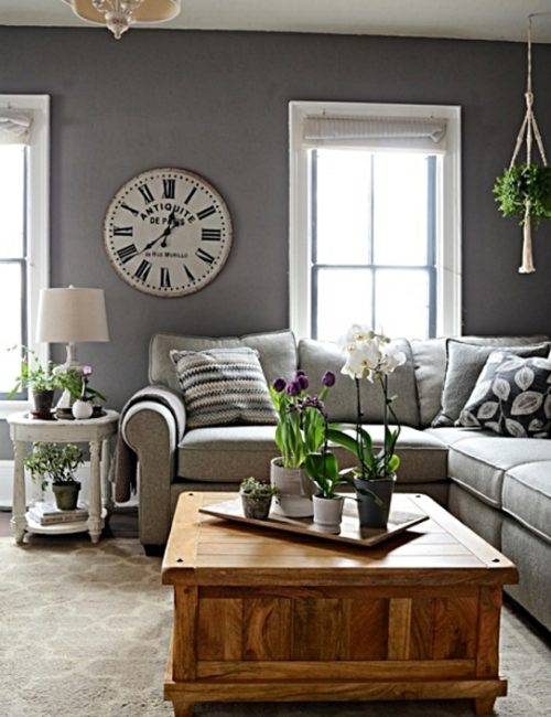 Gray Living Room - Wall Paint is Mole's Breath by Farrow and Ball