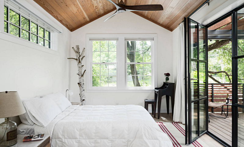 White and Black Bedroom with Vaulted Wood Ceiling
