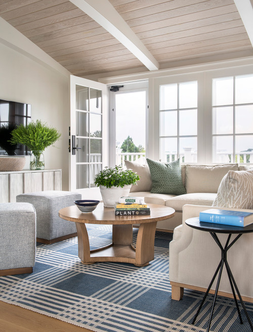 Coastal Family Living Room with Plants