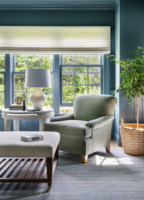 Gray-Blue Den with Expansive Windows