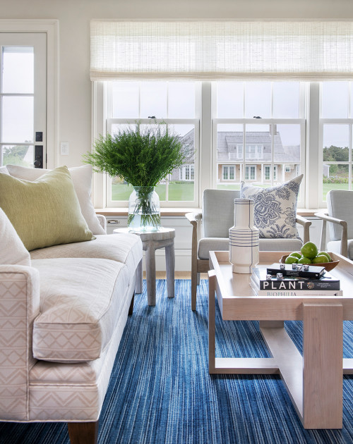 Beach Style Family Room with Woven Blue Rug