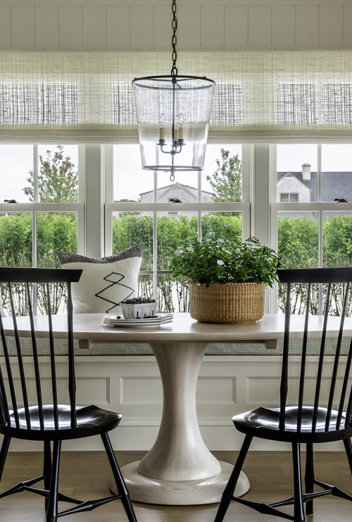 Farmhouse Style Breakfast Nook with Black Windsor Chairs