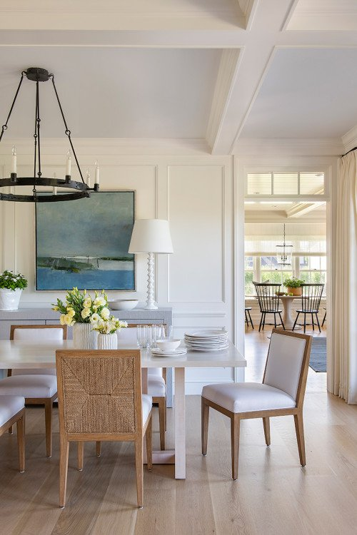 Beach Style Dining Room with Coffered Ceiling