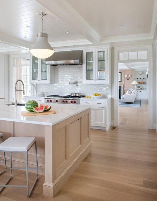 White Traditional Kitchen with Light Wood Finishes